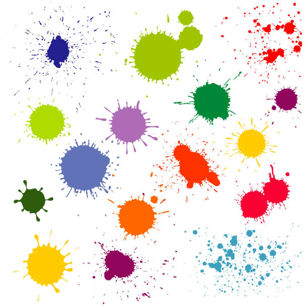 Color paint splatter, ink blots vector collection vector art illustration