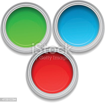 istock Color paint tin cans 472512294