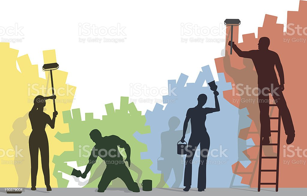 Color painters vector art illustration