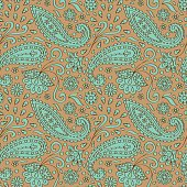 Paisley outline green and beige seamless pattern. Abstract summer wallpaper, textile print.