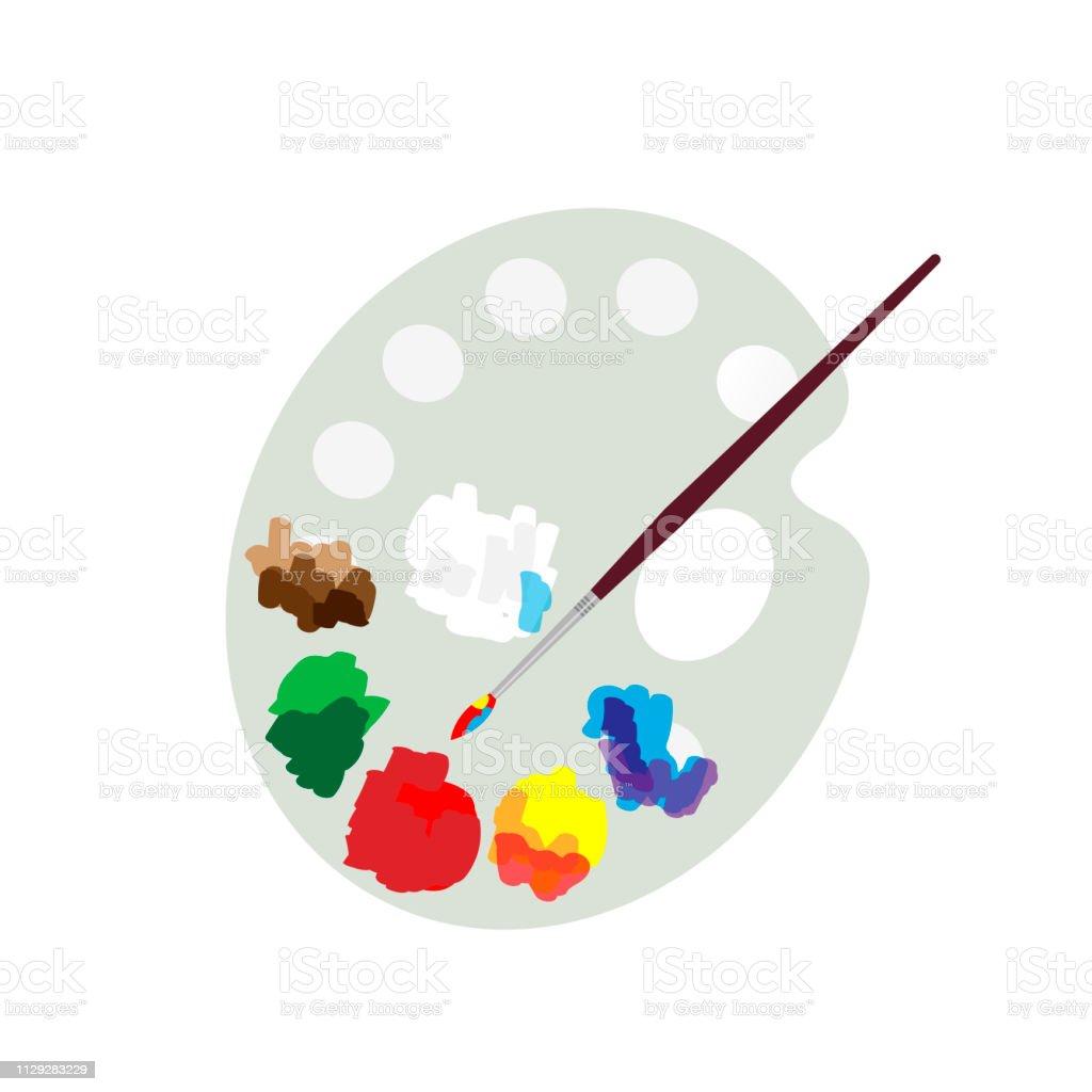 Palette Et Peinture Pinceau De Couleur Dessin Plat Artiste