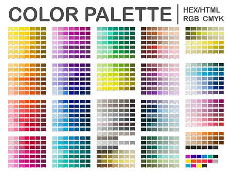 Color Palette. Color Chart. Print Test Page. Color Codes. RGB, HEX HTML, CMYK. Vector color
