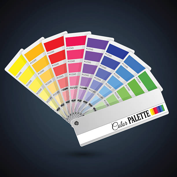 Color palette guide. Catalogue cards Bright color palette guide. Catalogue cards with paint icons fabric swatch stock illustrations