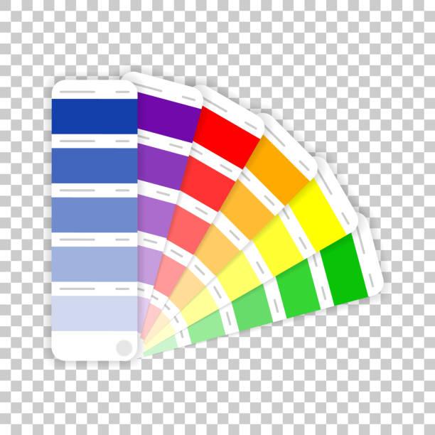 stockillustraties, clipart, cartoons en iconen met kleurenpalet handleiding op transparante achtergrond. vector illustratie. - kleurenwaaier