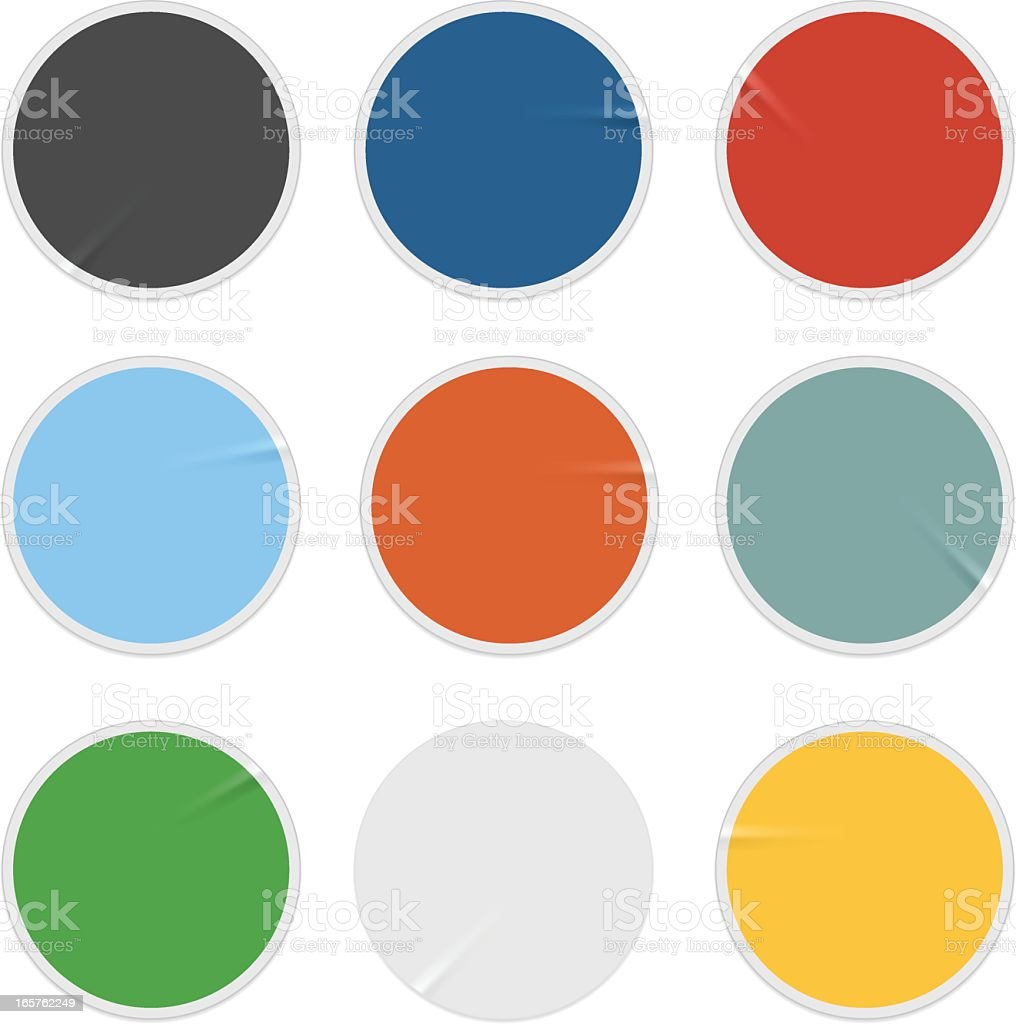 A color palette of circular stickers royalty-free stock vector art