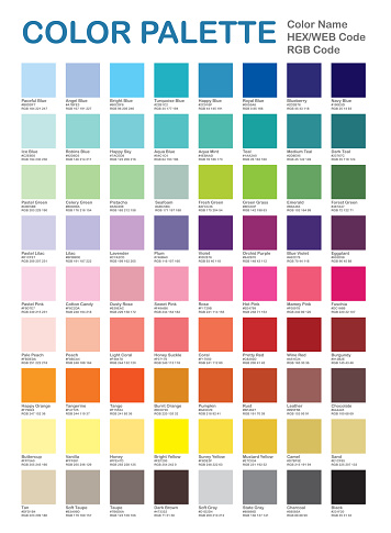 Color Palette - Popular Colors. Color Chart. Patterns and Names. RGB, HEX HTML. Vector color