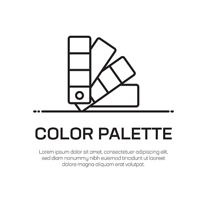 Color Palette Vector Line Icon - Simple Thin Line Icon, Premium Quality Design Element