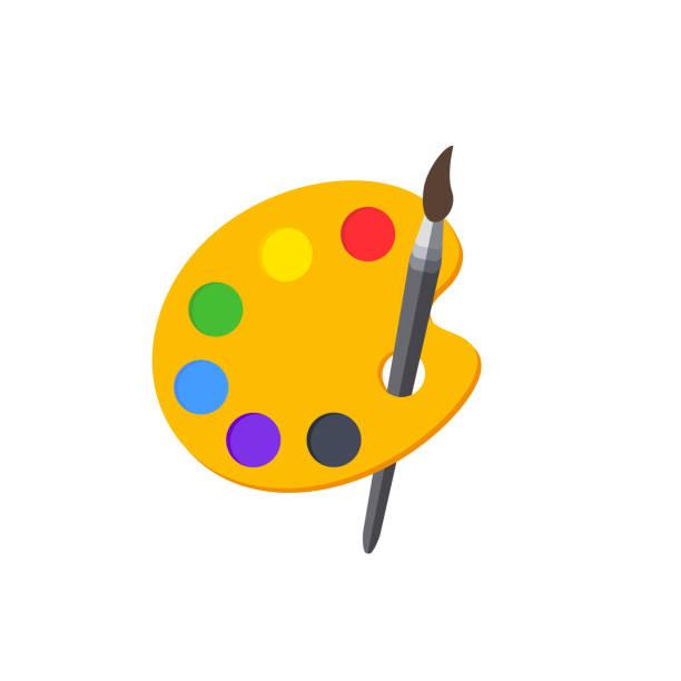 illustrations, cliparts, dessins animés et icônes de palette de couleurs avec pinceau. palette de peinture. palette de peintures. illustration vectorielle. - art