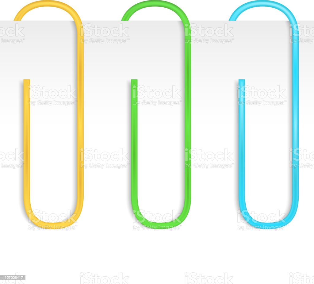 Color Paper Clips vector art illustration