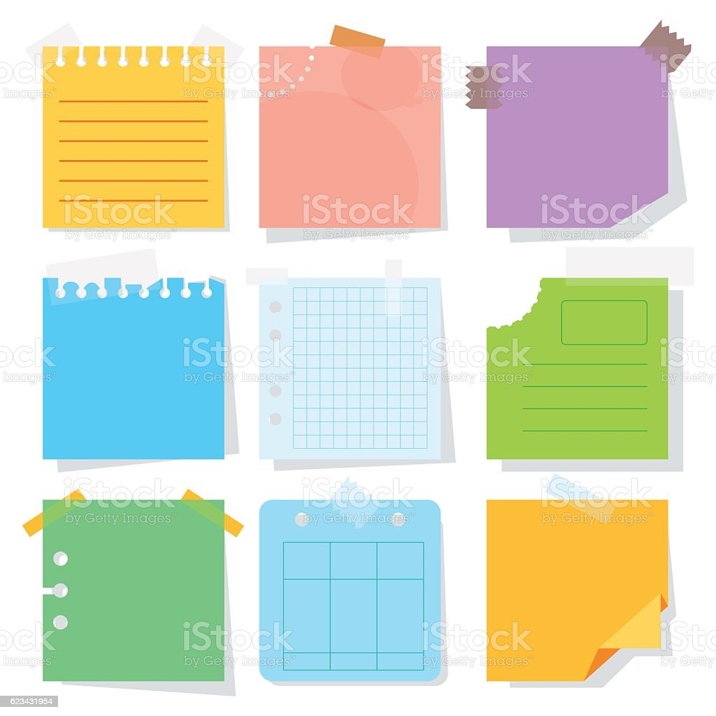 color paper sheet vector art illustration