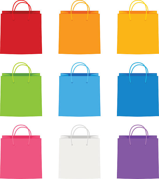 color paper shopping bags for your design - shopping bags stock illustrations