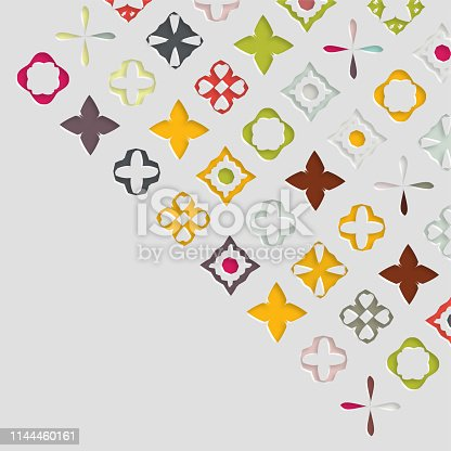 color papercutting style floral ornate pattern background
