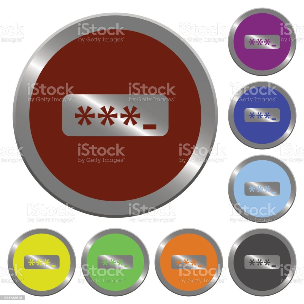 Color password typing buttons vector art illustration