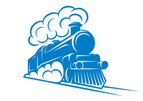 Color pattern for design with retro train on rails. Vector scalable illustration.