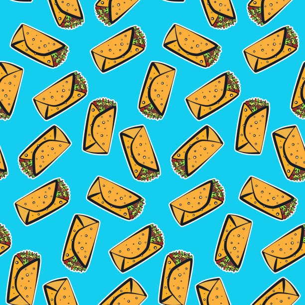 Color pattern with cute cartoon mexican burrito Seamless pattern with cute colorful cartoon mexican burrito on blue background. Comic flat pop art burritos texture for fast food textile, wrapping paper, package, restaurant or cafe menu banners female sandwich stock illustrations