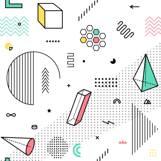 Color pattern with geometric graphic elements. Geometrical shapes backdrop for abstract fashion vector background design in trendy simple geometric style vector art illustration