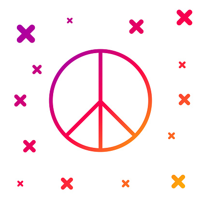 Color Peace sign icon isolated on white background. Hippie symbol of peace. Gradient random dynamic shapes. Vector Illustration