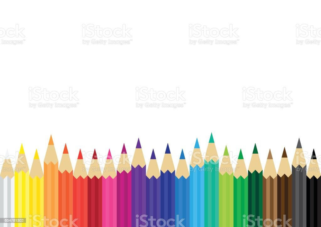 color pencils flat background vector art illustration