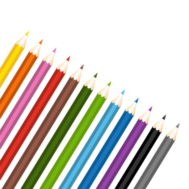 color pencils set. isolated vector illustration - back to school stock illustrations