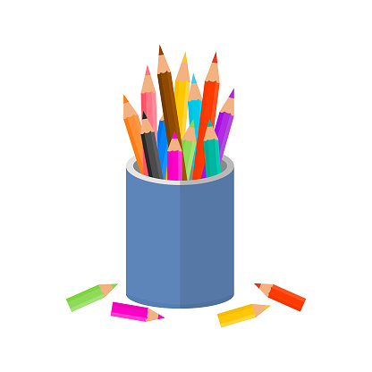 Color pencils with glass isolate on white background.