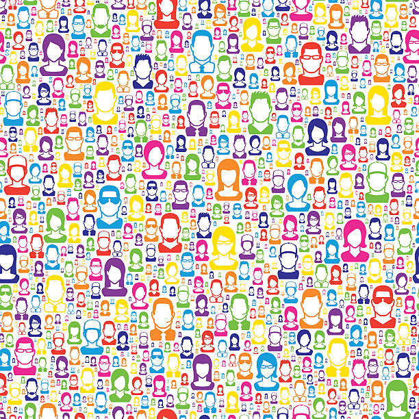 Color people pattern, on white Background. Color people on white background pattern. community patterns stock illustrations
