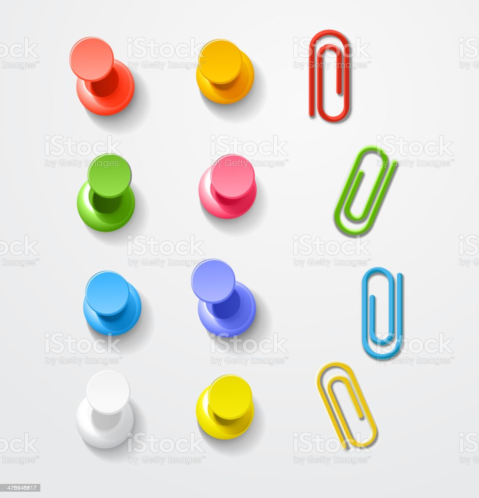 Color pins and clips collection vector art illustration