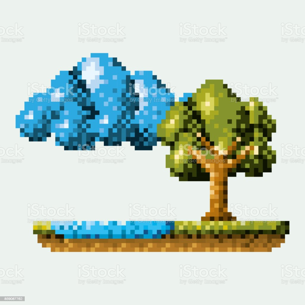 color pixelated forest landscape in meadow with tree next to the river and cloud vector art illustration