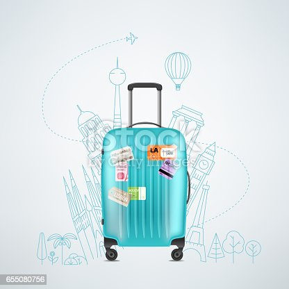 Color plastic travel bag with different travel elements