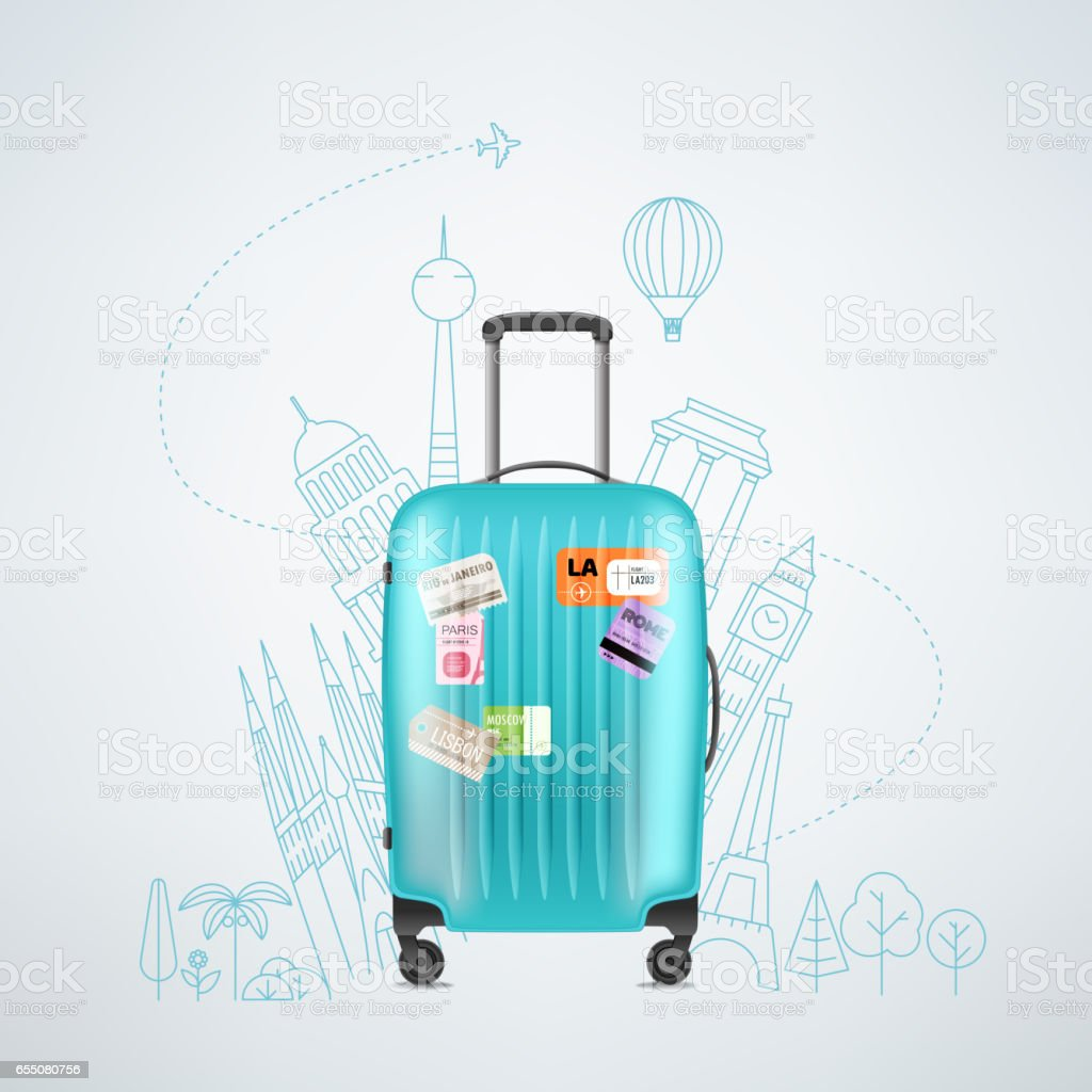 Color plastic travel bag with different travel elements vector art illustration