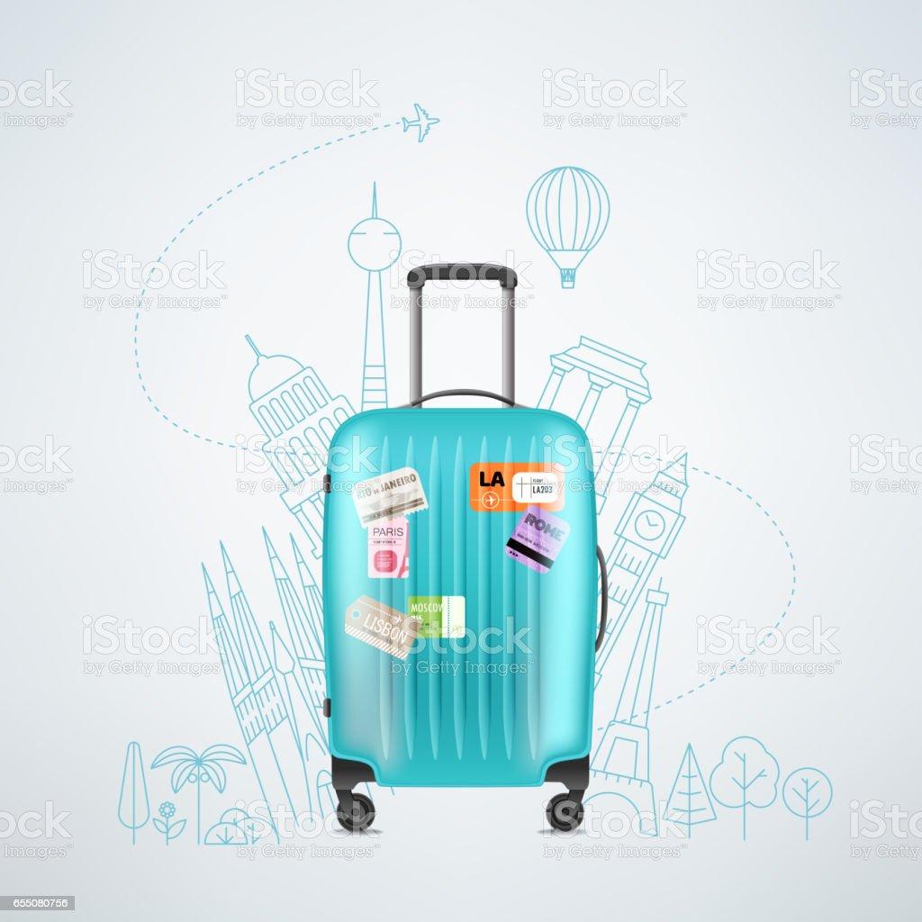 Plástico de cor de viagem saco com elementos de diferentes viagens - ilustração de arte em vetor
