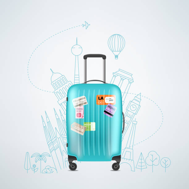 color plastic travel bag with different travel elements - travel destinations stock illustrations