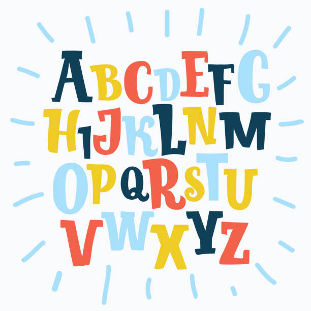 Color plasticine alphabet, isolated. Vector cartoon funny ABC set of cute coloralphabet on white background. Comic serif typeface. funky stock illustrations