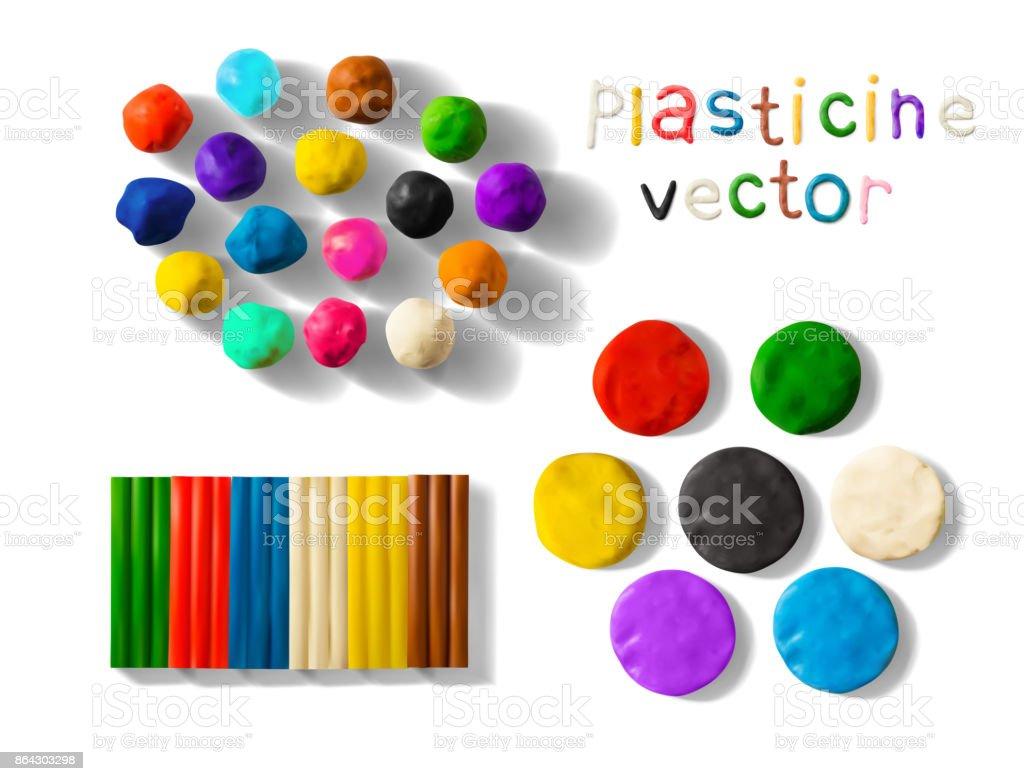 Color plasticine set isolated on a white background. 3d Vector illustration vector art illustration