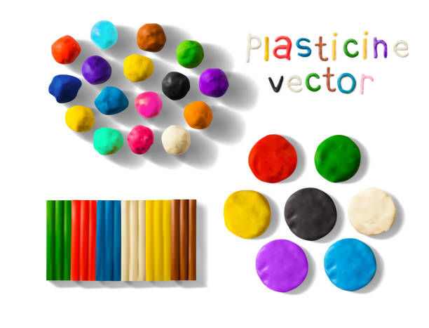 Color plasticine set isolated on a white background. 3d Vector illustration Color plasticine set isolated on a white background. Modeling Clay balls, bricks and palettes. 3d Vector illustration. Creative putty-like material for children's play clay stock illustrations