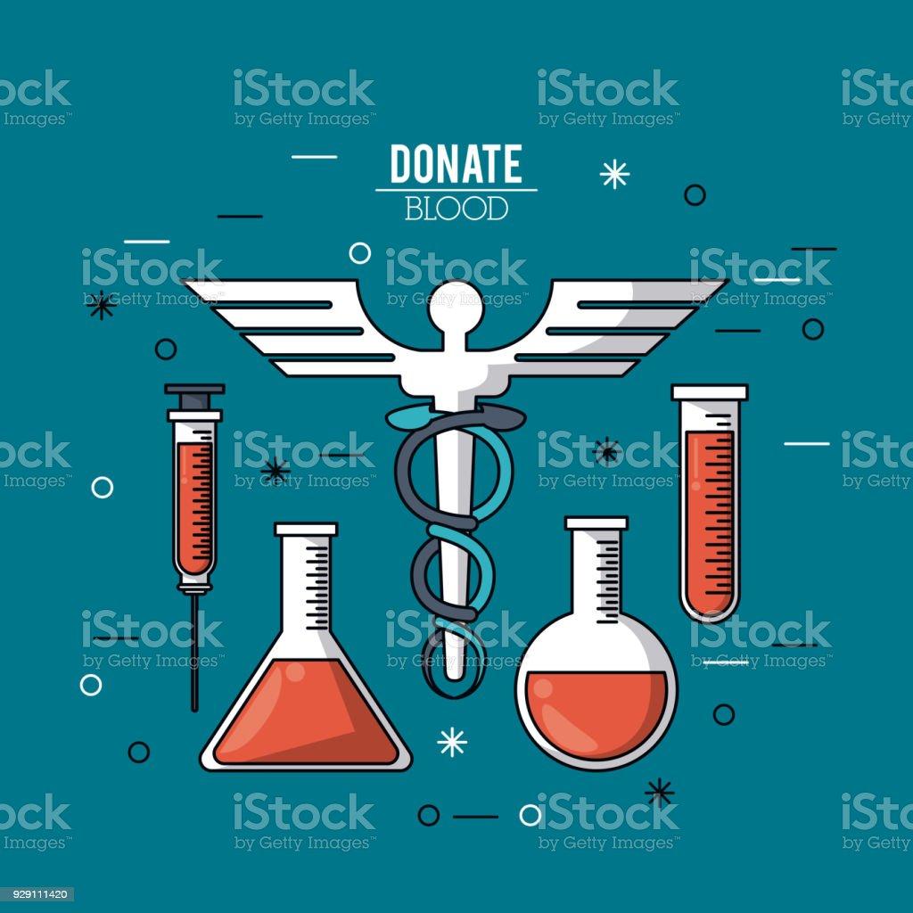 f2f396f5b5 affiche couleur donner leur sang avec des tubes à essai et symbole du  caducée affiche couleur