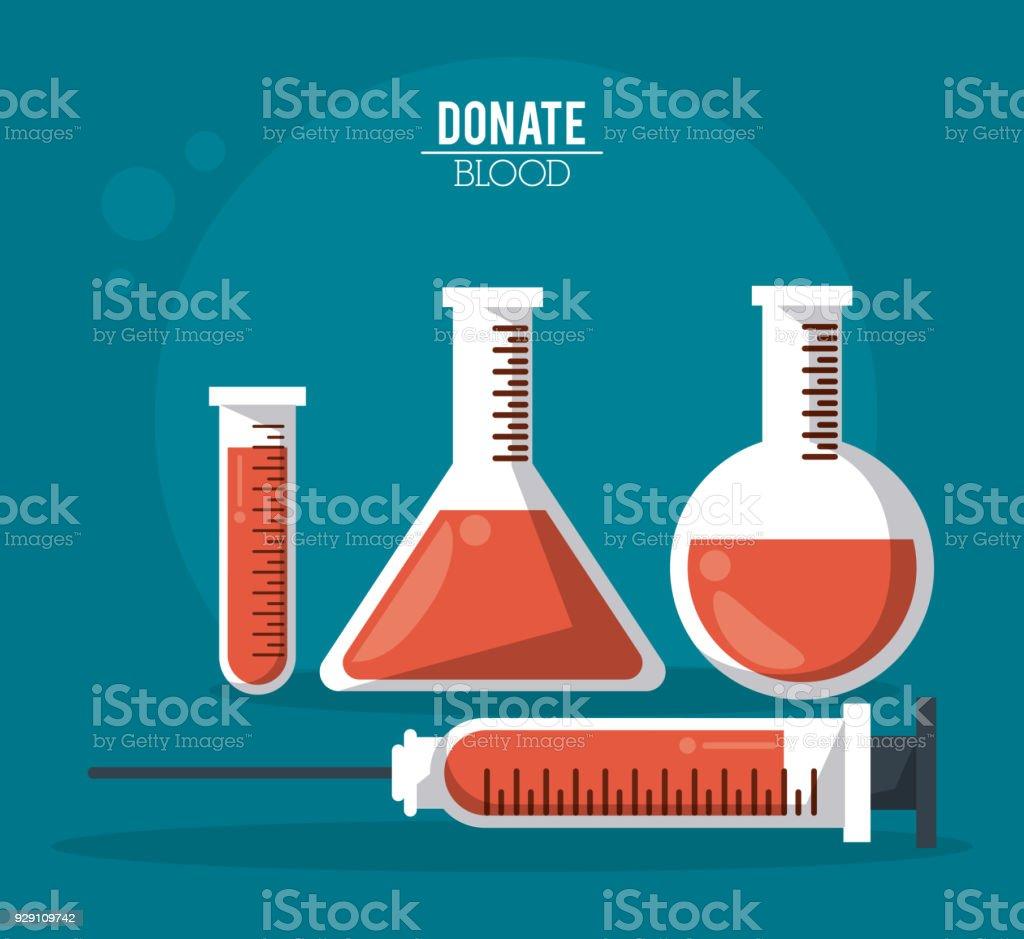 d93217b288 affiche couleur donner leur sang avec des tubes à essai et seringue affiche  couleur donner leur