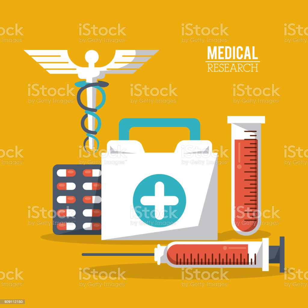 Color Poster Medical Research With Caduceus Symbol And Test Tube And