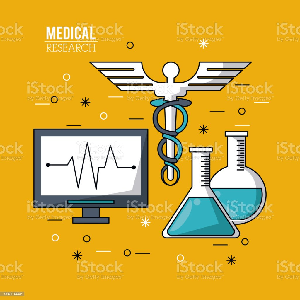 Color Poster Medical Research With Pulse Monitor And Caduceus Symbol