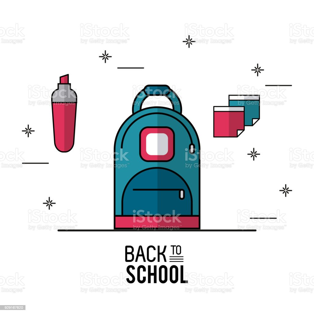 Color Poster Of Back To School With Backpack In Closeup With Marker ...