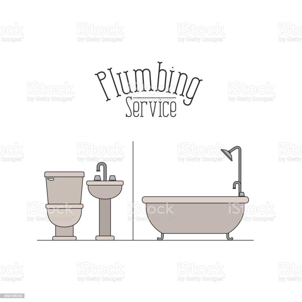 Affiche Salle De Bain ~ affiche couleur du service plomberie salle de bain stock vecteur
