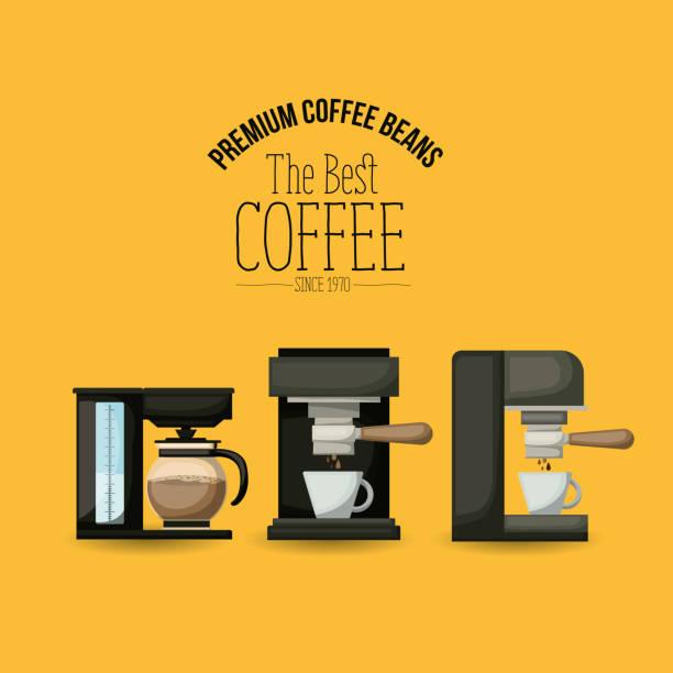 最高のコーヒー セット コーヒー メーカー、エスプレッソ マシンと 1970 年以来の高級コーヒー豆のカラー ポスター - バリスタ点のイラスト素材/クリップアート素材/マンガ素材/アイコン素材