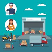 color poster with circular frame of icons people logistics and facade warehouse storage and vehicles transporting cardboard boxes