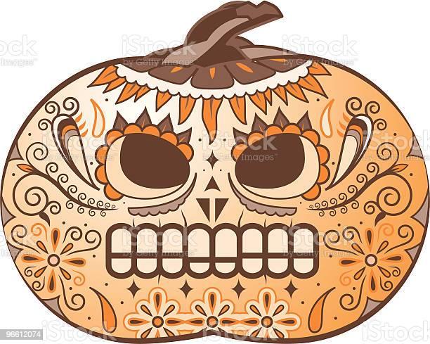 Color Pumpkin Deathmask-vektorgrafik och fler bilder på Alla helgons dag