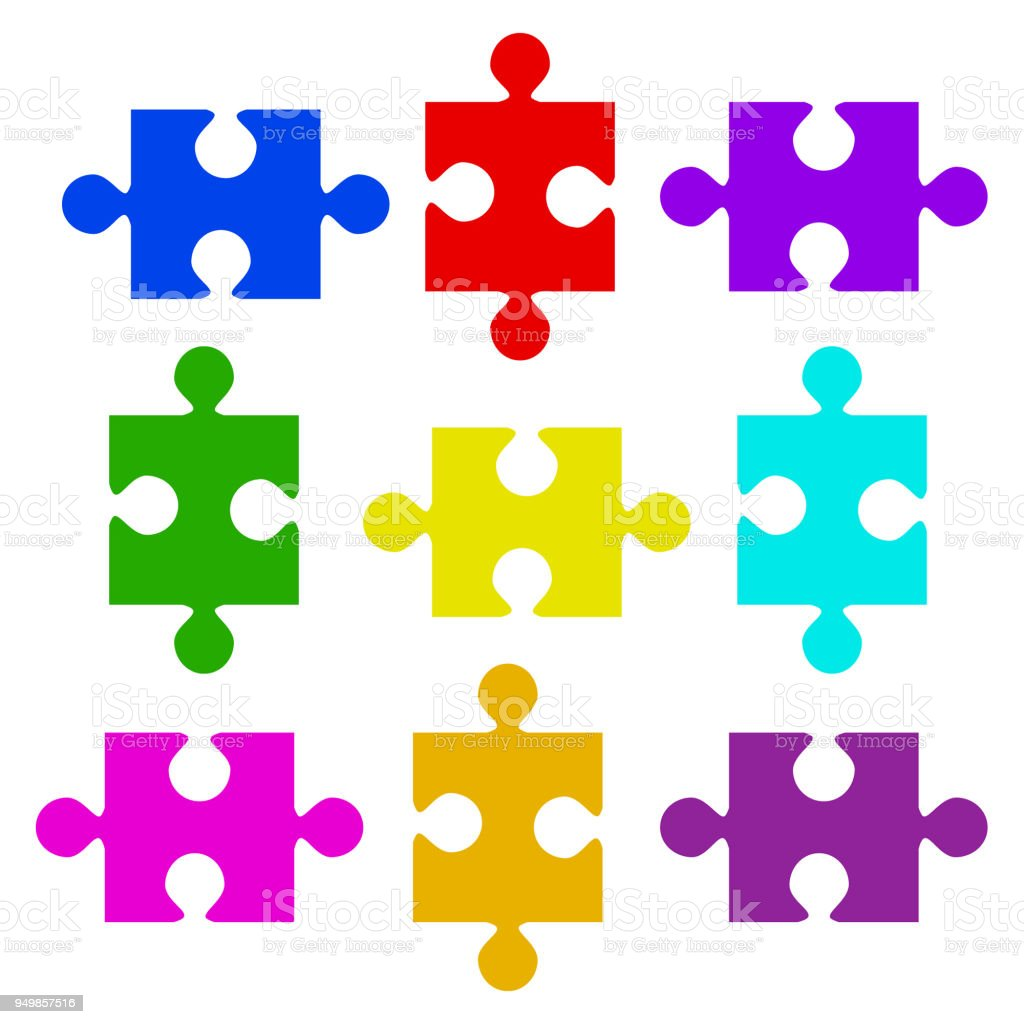 Color Puzzle Elements. Vector Illustration, eps 10 vector art illustration