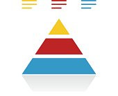 Vector illustration includes a single, color, Pyramid icon on a white background.