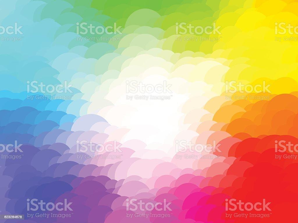 color rainbow circular pattern background vector art illustration