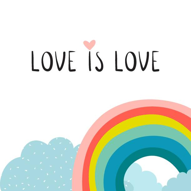 color rainbow with clouds. love is love card. vector illustration - tęcza stock illustrations