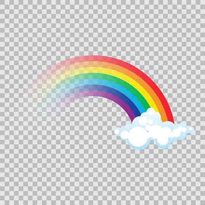 Color rainbow with clouds vector illustration in flat design
