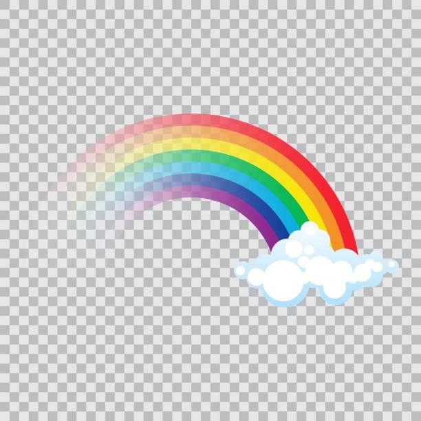 ilustrações, clipart, desenhos animados e ícones de arco-íris da cor com nuvens ilustração do vetor no projeto liso - arco íris