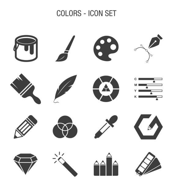 illustrazioni stock, clip art, cartoni animati e icone di tendenza di color related icon set - raccogliere frutta